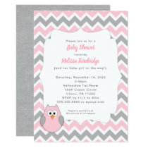 Trendy Pink and Gray Owl Girl Baby Shower Card