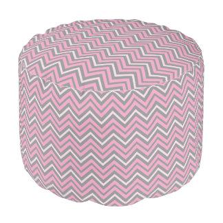 Trendy Pink and Grey Zigzag Chevron Patten Pouf