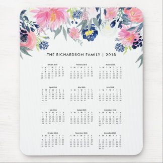 Trendy Pink and Navy Blue Floral | 2018 Calendar Mouse Pad