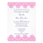 Trendy Pink and Orange Damask Wedding invitations