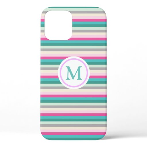 Trendy Pink and Teal Striped Monogram iPhone 12 Case