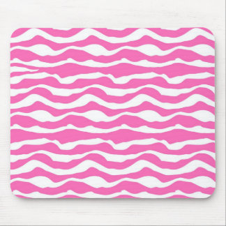 Trendy Pink and White Zebra Striped Pattern Mouse Pad