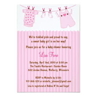 Trendy Pink Baby Clothes Baby Shower Invitations