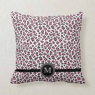 Trendy pink + black cheetah print monogram pillow