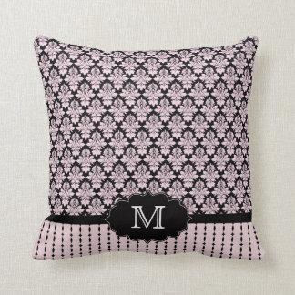 Trendy pink black damask monogram pillow