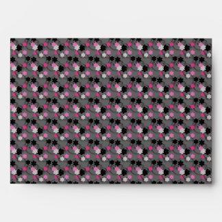 Trendy Pink & Black Flower Blossom Black Envelope