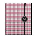Trendy pink black preppy plaid monogram iPad case