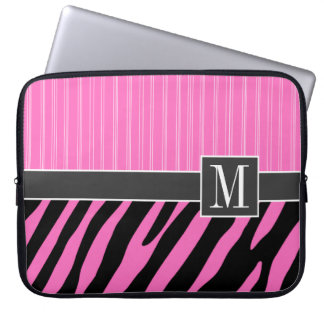 Trendy Pink & Black Zebra Stripes Laptop Sleeve