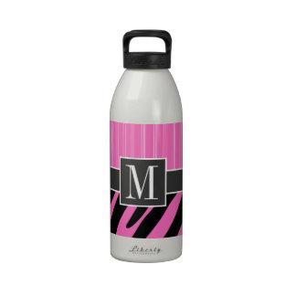 Trendy Pink Black Zebra Stripes Reusable Water Bottle