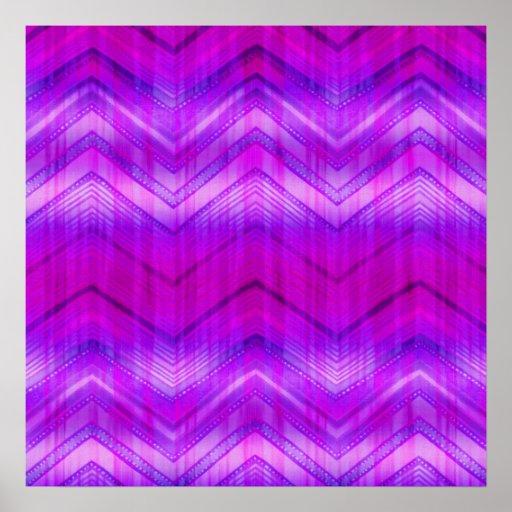 Trendy Pink Blue Girly Zigzag Stripes Pattern Poster