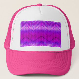 Trendy Pink Blue Girly Zigzag Stripes Pattern Trucker Hat