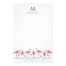 Trendy | Pink & Blue | Monogram | Flamingo | Stationery