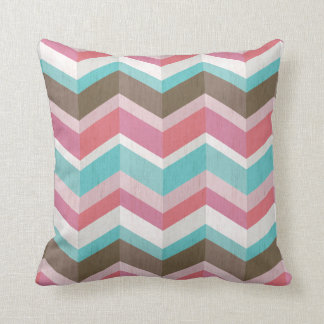 Trendy Pink Blue White and Brown Chevron Pattern Throw Pillow