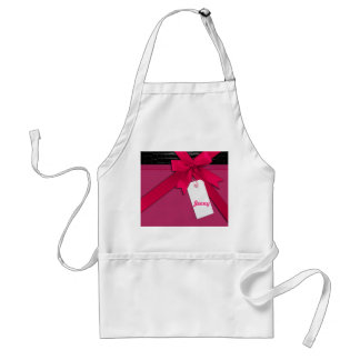 Trendy Pink bow on black and pink leather Adult Apron