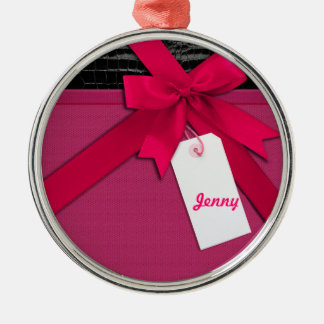 Trendy Pink bow on black and pink leather Ornament