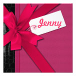 Trendy Pink bow on black and pink leather Art Photo