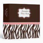 Trendy Pink Brown Custom Zebra Print Binder 3 Ring Binders