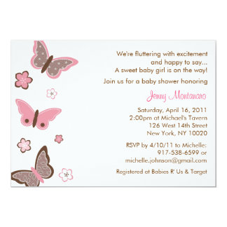 Trendy Pink Butterfly Baby Shower Invitations