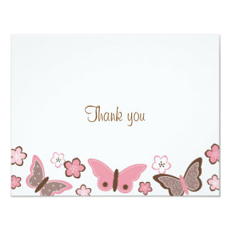 Trendy Pink Butterfly Blossom Thank You Note Cards