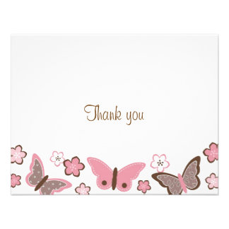 Trendy Pink Butterfly Blossom Thank You Note Cards Personalized Invitation