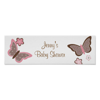 Trendy Pink Butterfly Flower Banner Sign Poster