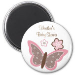 Trendy Pink Butterfly Flower Favor Magnets