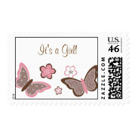 Trendy Pink Butterfly Flower Postage Stamps