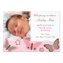 Trendy Pink Butterfly Photo Birth Announcements