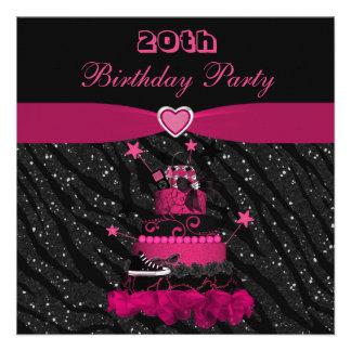 Trendy Pink Cake Zebra Stripes 20th Birthday Custom Invitations