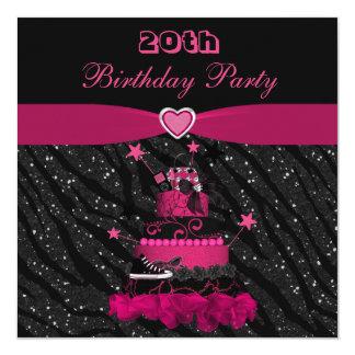 Trendy Pink Cake & Zebra Stripes 20th Birthday Custom Invitations