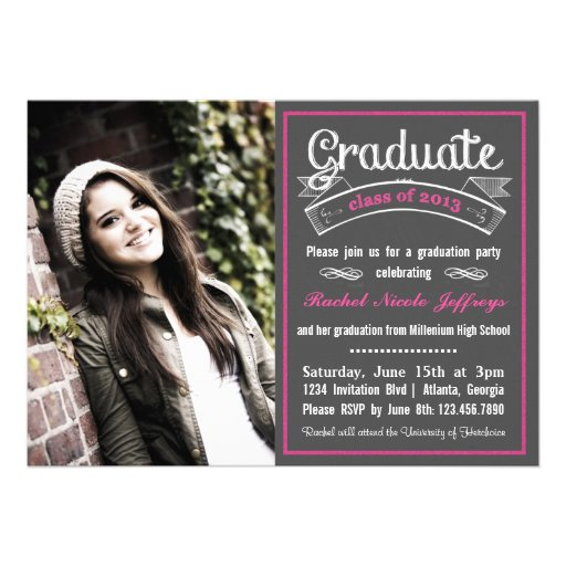 Trendy Pink Chalkboard Typography Graduation Custom Announcements