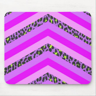 Trendy Pink Cheetah Chevron Animal Pattern Print Mouse Pad