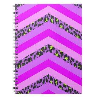 Trendy Pink Cheetah Chevron Animal Pattern Print Spiral Note Book