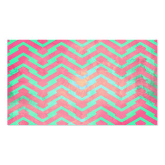 Trendy Pink Chevron Abstract Teal Zig Zag Pattern Business Card Template