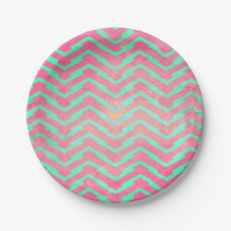 Trendy Pink Chevron Abstract Teal Zig Zag Pattern Paper Plate