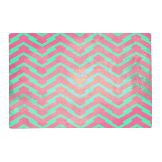 Trendy Pink Chevron Abstract Teal Zig Zag Pattern Placemat