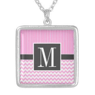 Trendy Pink Chevron Silver Plated Necklace