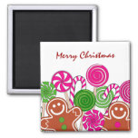 Trendy pink Christmas gingerbreads 2 Inch Square Magnet