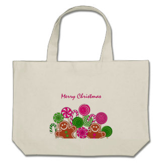 Trendy pink Christmas gingerbreads Tote Bags