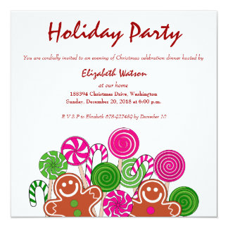 Trendy pink Christmas gingerbreads Invitations