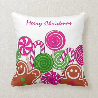 Trendy pink Christmas gingerbreads Pillow