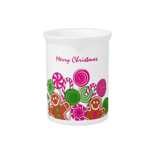 Trendy pink Christmas gingerbreads Pitcher
