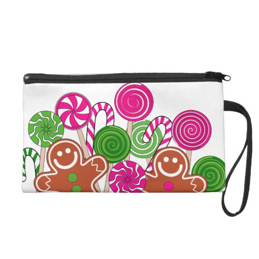 Trendy pink Christmas gingerbreads Wristlet Purse
