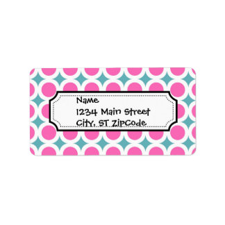 Trendy Pink Circles and Teal Blue Pattern Label
