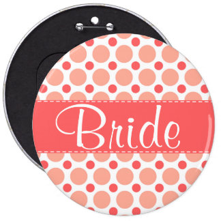 Trendy Pink & Coral Polka Dots Button