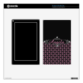 Trendy Pink Damask Black Diamonds Personalize Decal For Kindle Fire