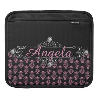 Trendy Pink Damask Black Diamonds Personalize Sleeve For iPads