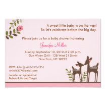 Trendy Pink Deer Forest Baby Shower Invitations