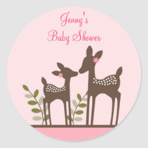 Trendy Pink Deer Forest Envelope Seals Stickers