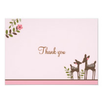 Trendy Pink Deer Forest Thank You Note Cards